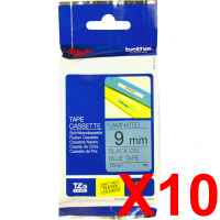 10 x Genuine Brother TZe-521 9mm Black on Blue Laminated Tape 8 metres