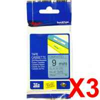 3 x Genuine Brother TZe-521 9mm Black on Blue Laminated Tape 8 metres