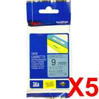 5 x Genuine Brother TZe-521 9mm Black on Blue Laminated Tape 8 metres