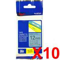 10 x Genuine Brother TZe-531 12mm Black on Blue Laminated Tape 8 metres