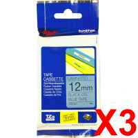 3 x Genuine Brother TZe-531 12mm Black on Blue Laminated Tape 8 metres