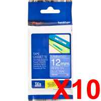 10 x Genuine Brother TZe-535 12mm White on Blue Laminated Tape 8 metres