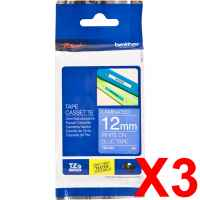 3 x Genuine Brother TZe-535 12mm White on Blue Laminated Tape 8 metres