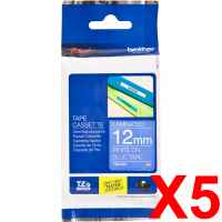 5 x Genuine Brother TZe-535 12mm White on Blue Laminated Tape 8 metres