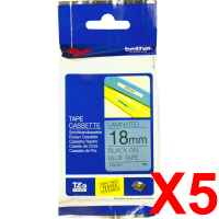 5 x Genuine Brother TZe-541 18mm Black on Blue Laminated Tape 8 metres