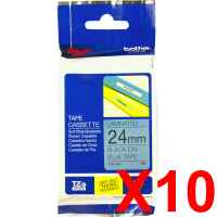 10 x Genuine Brother TZe-551 24mm Black on Blue Laminated Tape 8 metres