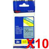 10 x Genuine Brother TZe-561 36mm Black on Blue Laminated Tape 8 metres