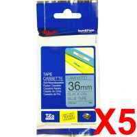 5 x Genuine Brother TZe-561 36mm Black on Blue Laminated Tape 8 metres