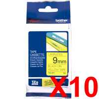 10 x Genuine Brother TZe-621 9mm Black on Yellow Laminated Tape 8 metres