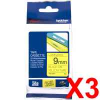 3 x Genuine Brother TZe-621 9mm Black on Yellow Laminated Tape 8 metres