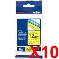 10 x Genuine Brother TZe-631 12mm Black on Yellow Laminated Tape 8 metres