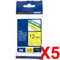 5 x Genuine Brother TZe-631 12mm Black on Yellow Laminated Tape 8 metres