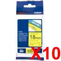 10 x Genuine Brother TZe-641 18mm Black on Yellow Laminated Tape 8 metres