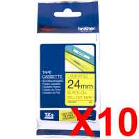 10 x Genuine Brother TZe-651 24mm Black on Yellow Laminated Tape 8 metres