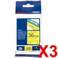 3 x Genuine Brother TZe-661 36mm Black on Yellow Laminated Tape 8 metres