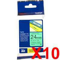 10 x Genuine Brother TZe-751 24mm Black on Green Laminated Tape 8 metres