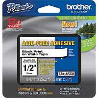 1 x Genuine Brother TZe-AF231 12mm Black on White Acid Free Laminated Tape 8 metres