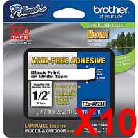 10 x Genuine Brother TZe-AF231 12mm Black on White Acid Free Laminated Tape 8 metres