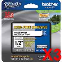 3 x Genuine Brother TZe-AF231 12mm Black on White Acid Free Laminated Tape 8 metres