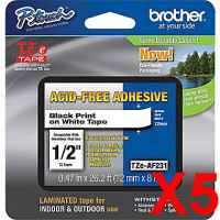 5 x Genuine Brother TZe-AF231 12mm Black on White Acid Free Laminated Tape 8 metres