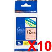 10 x Genuine Brother TZe-B31 12mm Black on Fluro Orange Laminated Tape 5 metres