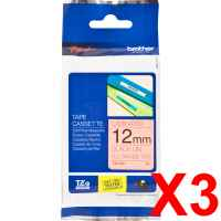 3 x Genuine Brother TZe-B31 12mm Black on Fluro Orange Laminated Tape 5 metres