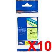 10 x Genuine Brother TZe-C31 12mm Black on Fluro Yellow Laminated Tape 5 metres