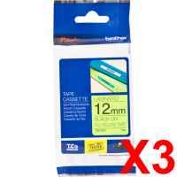 3 x Genuine Brother TZe-C31 12mm Black on Fluro Yellow Laminated Tape 5 metres