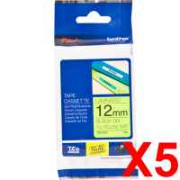 5 x Genuine Brother TZe-C31 12mm Black on Fluro Yellow Laminated Tape 5 metres