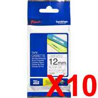 10 x Genuine Brother TZe-M31 12mm Black on Clear matt Laminated Tape 8 metres