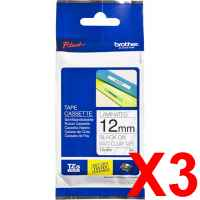 3 x Genuine Brother TZe-M31 12mm Black on Clear matt Laminated Tape 8 metres