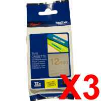 3 x Genuine Brother TZe-MQ934 12mm Gold on Satin Silver Laminated Deco Tape 5 metres
