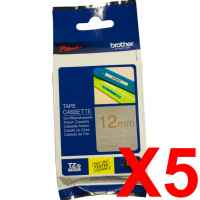 5 x Genuine Brother TZe-MQ934 12mm Gold on Satin Silver Laminated Deco Tape 5 metres