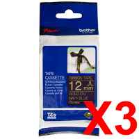 3 x Genuine Brother TZe-RN34 12mm Gold on Navy Blue Ribbon Tape 4 metres