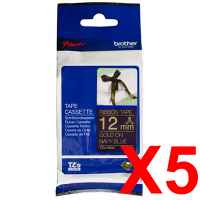 5 x Genuine Brother TZe-RN34 12mm Gold on Navy Blue Ribbon Tape 4 metres