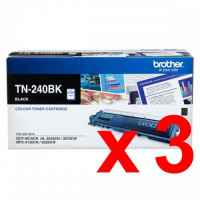 3 x Genuine Brother TN-240BK Black Toner Cartridge
