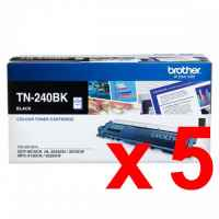 5 x Genuine Brother TN-240BK Black Toner Cartridge