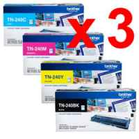 3 Lots of 4 Pack Genuine Brother TN-240 Toner Cartridge Set