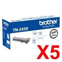 5 x Genuine Brother TN-2450 Toner Cartridge High Yield