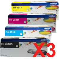 3 Lots of 4 Pack Genuine Brother TN-251 Toner Cartridge Set