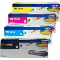 4 Pack Genuine Brother TN-251 & TN-255 Toner Cartridge Set