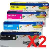 2 Lots of 4 Pack Genuine Brother TN-251 & TN-255 Toner Cartridge Set