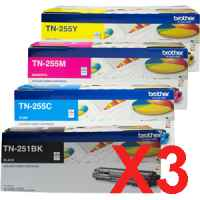 3 Lots of 4 Pack Genuine Brother TN-251 & TN-255 Toner Cartridge Set