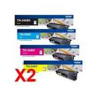 2 Lots of 4 Pack Genuine Brother TN-346 Toner Cartridge Set High Yield