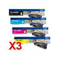 3 Lots of 4 Pack Genuine Brother TN-346 Toner Cartridge Set High Yield