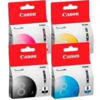 4 Pack Genuine Canon CLI-8 Ink Cartridge Set (1PBK,1C,1M,1Y)