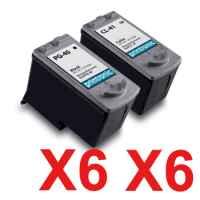 12 Pack Compatible Canon PG-40 CL-41 Ink Cartridge Set (6BK,6C)