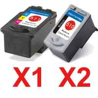 3 Pack Compatible Canon PG-510 CL-511 Ink Cartridge Set (2BK,1C)