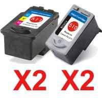 4 Pack Compatible Canon PG-510 CL-511 Ink Cartridge Set (2BK,2C)