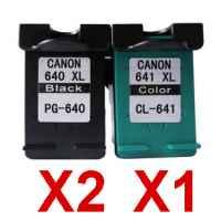 3 Pack Compatible Canon PG-640XL CL-641XL Ink Cartridge Set (2BK,1C)